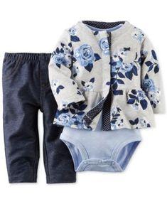 Carter's Baby Girls' 3-Piece Cardigan, Bodysuit & Pants Set 12 mos