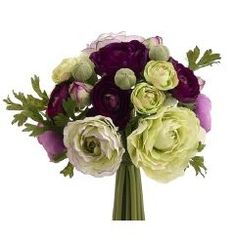 "9"" Ranunculus Bouquet in Purple and Green"