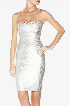 Herve Leger Strapless Silver Jacquard Bandage Dress