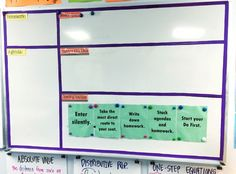 5 Teacher Organization Tips I like the opening routine posted on the board.  No excuse...