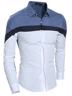 Camisa Fashion Casual/Social - Irregular Mix Colors - en Azul Claro, Vino y Azul