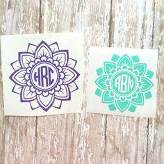 Flower Mandala Monogram Mandala Car Decal by Monogram Stickers, Vinyl Monogram, Mandalas Painting, Mandalas Drawing, Yeti Decals, Car Decals, Design Tattoo, Vinyl Shirts