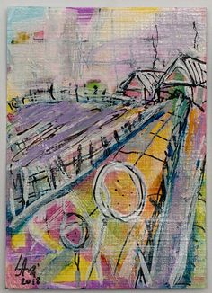"""ACEO Original Abstract Acrylic Art Miniature Painting Handmade ATC Collectible """" Spring landscape # 2 """""""