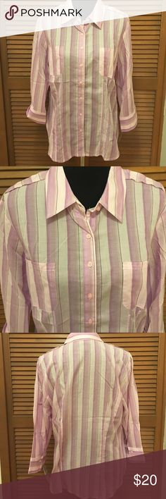 NWT Style & Co. purple stripe button down shirt 16 Brand-new with tags! Lightweight button down shirt originally purchased from Macy's. Brand is style & Co. size 16 100% cotton. Bundle two or more items from my closet and save! Style & Co Tops Button Down Shirts