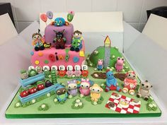 CBeebies wonderland kid's birthday cake! Full of all your little one's faves. Summer Birthday, 3rd Birthday Parties, 4th Birthday, Cbeebies Cake, Bing Bunny, Twin Birthday Cakes, Bithday Cake, Paw Patrol Birthday, Cake Decorating Tutorials