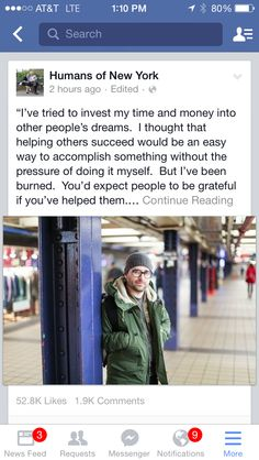 Humans of NY Humans Of New York, Helping Others, No Time For Me, Thoughts, Facebook, Ideas