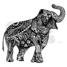 Lucky Elephant Zentangle Pillow Case on CafePress.com