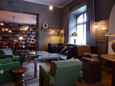 Grey and green living room from Ett Hem hotel, Stockholm via Pentreath Hall Inspiration blog.