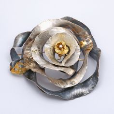 Brooch | Margot diCono ~ Studio Numen. 'Homage to Monet's 'Water Lilly'  Sterling Silver, 24K Gold, 18K Gold, 14K Gold, Diamond