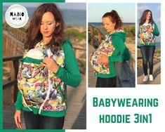 Babywearing jacket coat hoodie ADA Maternity Pregnancy Multifunctional Kangaroo babycarrying jacket green with floral print Maternity Hoodie, Babywearing, Green Jacket, Calgary, Multifunctional, Kangaroo, Babe, Pregnancy, Floral Prints