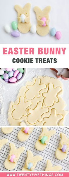 These Easter bunny cookies are so cute and look like they're carrying Easter eggs! Learn how to make these fun and tasty Easter treats for kid, or bake them up for your Easter party this year! #Easter #Cookies