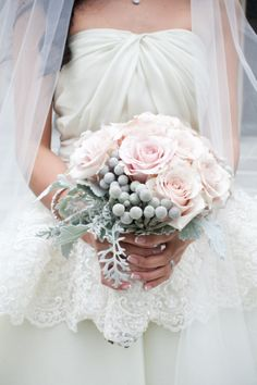 Pink roses and winter berries from Mobtown Florals