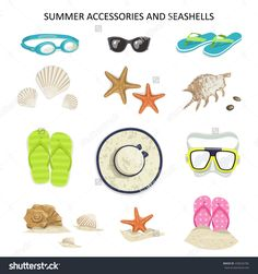 Set Summer Accessories And Seashells On A White Background. Vector Icons Glasses, Diving Mask, Flip-Flops, Shells, Starfish, Hat, Sunglasses - 438326782 : Shutterstock