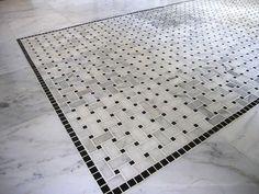 carrara marble basketweave mosaic tile black marquina dots honed, Hause ideen
