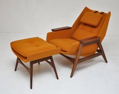 Feet up & head back; relaxation is included in this chair... inspiration of mid century modern from #chinatownefurniture