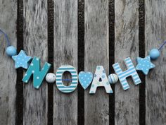 """""""NOAH"""" WOODEN LETTERS LETTER DOOR NAME BABY SHOWER DECORATION  SHABBY CHIC…"""