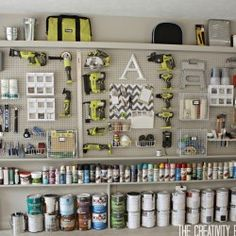 Garage Organization! We need to build this inside the self! So cheap and functional while taking up a small space!