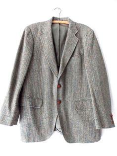 Ending Today!! Hunting Blazer Size 42 Suit Coat Wool Vintage 60s Herringbone Costume Jacket #AdamsRow #TwoButton
