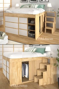 [Impero Bed with sliding doors] The best storage bed to hide pillows, quilts and boxes: no drawer can replace the Impero bed with 3 shelves and closet with hangers! The Space Saving solution. - Home Decor Space Saving Bedroom, Space Saving Furniture, Small Room Bedroom, Home Bedroom, Tiny Bedrooms, Small Rooms, Loft Bed Storage, Best Storage Beds, Home Room Design