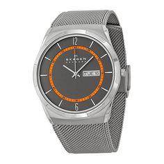 Skagen Men's Aktiv Titanium Analog-Quartz Watch with Grey Ion-Plated Stainless Steel Mesh Strap, 28 (Model: