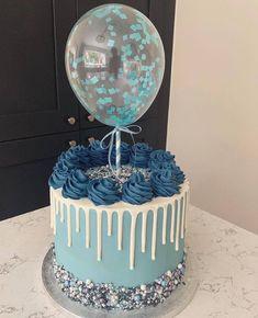 Blue Birthday Cakes, Beautiful Birthday Cakes, Beautiful Cakes, Amazing Cakes, Bolo Drip Cake, Drip Cakes, Bolo Cake, Balloon Cake, Baby Boy Cakes