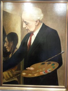 Han van Meegeren, zelfportret werkend aan de Emmaüsgangers gemaakt ca. 1947 (na zijn arrestatie)