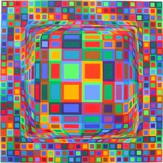 Victor Vasarely was a Hungarian French artist whose work is generally seen as aligned with Op-art. His work entitled Zebra, created by Vasarely in the is considered by some to be one of the earliest examples of Op-art. Victor Vasarely, Illusion Kunst, Illusion Art, Op Art, Grafik Art, Galerie D'art Moderne, Optical Illusion Quilts, Optical Illusions, Art Fractal
