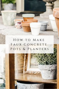 How to Make Faux Concrete Pots & Planters - She Holds Dearly Concrete Finishes, Concrete Texture, Concrete Planters, Planter Pots, Wall Planters, Succulent Planters, Succulents Garden, Cement Pots, Plastic Tables