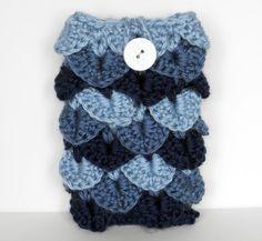 Blue Crochet Phone Cozy / Case in Crocodile by CustomBearHugs, $15.00
