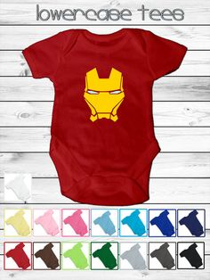Baby Iron Man Inspired Onesie - 5 sizes -15 colors - Iron Man's Helmet fan art Design bodysuit shower gift custom avengers superhero on Etsy, £12.19