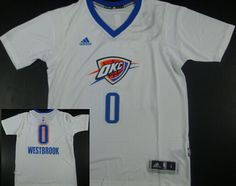 Oklahoma City Thunder #0 Russell Westbrook Revolution 30 Swingman 2014 New White Short-Sleeved Jersey