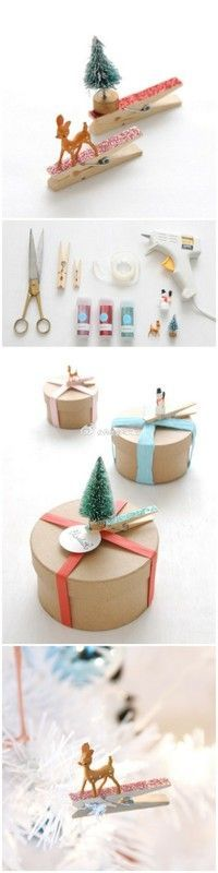 The BEST DIY Gift Toppers – Pretty and Easy Handmade Gift Wrapping Ideas for Christmas, Birthdays, Holidays or presents for any special occasion! - DIY Glittered Clothespin and Miniature Ornaments Gift Toppers – The BEST DIY Gift Toppers – Pre - Noel Christmas, Christmas Wrapping, All Things Christmas, Winter Christmas, Christmas Ornaments, Diy Ornaments, Christmas Presents, Christmas Ideas, Winter Kids