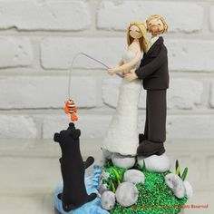 wedding fishing cake topper FISHING FISHERMAN FUNNY HUMOROUS