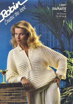Textured Shirt Sweater Vintage Knitting Pattern for download Six Bust Sizes 30 - 40