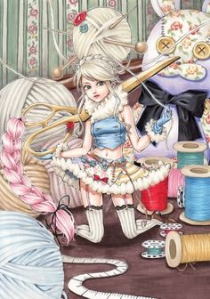 [ • art - illustration - sewing table - fantasy • ]
