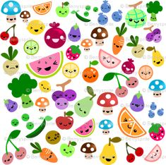 happy fruit fabric - cluttered fruits by Berrysprite on Spoonflower