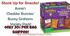 HOT BUY! Get Annie's Cheddar Bunnies/Bunny Grahams Variety Pack for only $10.92 for 36 bags! WOOHOO! That is only $0.30 per bag! Grab them now!  Click the link below to get all of the details ► http://www.thecouponingcouple.com/annies-cheddar-bunniesbunny-grahams-variety-pack/ #Coupons #Couponing #CouponCommunity  Visit us at http://www.thecouponingcouple.com for more great posts!