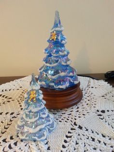 Fenton Blue Iridized Christmas Tree Grouping With Lighted Stand #Fenton