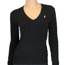 Polo Ralph Lauren Women`s Cable Knit V-neck Black Sweater $79.99