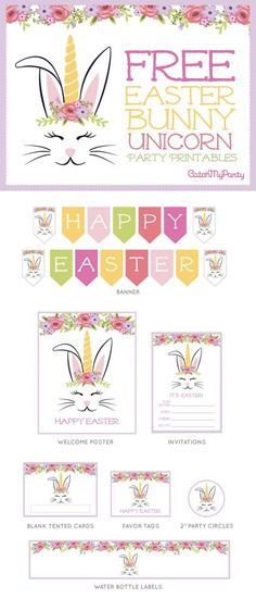 FREE Easter Bunny Unicorn Party Printables | CatchMyParty.com