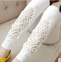 2018 Spring Autumn Thin Women Cotton Knitted Short Leggings Hollow Out Lace Diamond Print Flower Thin Section Mid Waist Trousers Lace Leggings, Cotton Leggings, Salwar Pants, Knit Shorts, Fashion Pants, Ideias Fashion, Kimono, Womens Fashion, Fashion Clothes