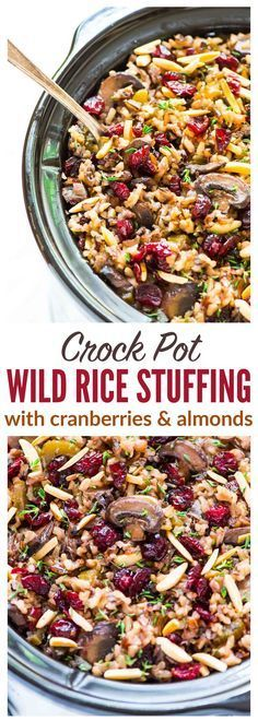 Free up the oven for Thanksgiving with this Crockpot Stuffing with Wild Rice and Cranberries. An easy, DELICIOUS gluten free stuffing recipe that everyone can enjoy! Simple, cozy slow cooker recipe that's perfect for holidays or anytime you are hosting a crowd. Recipe at wellplated.com | @Well Plated {vegan, gluten free}