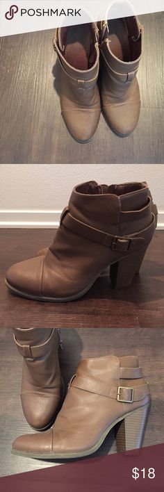 Brown Lauren Conrad boot heels Fair condition tan/brown Lauren Conrad boots with heels with cute buckles on the sides. Fits 7-7.5 Shoes Ankle Boots & Booties