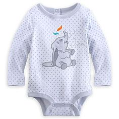Dumbo Long Sleeve Disney Cuddly Bodysuit for Baby | Disney StoreDumbo Long Sleeve Disney Cuddly Bodysuit for Baby - Spirits will soar along with little Dumbo and his great big ears. Eyes sparkle and shine in this long sleeve Disney Cuddly Bodysuit made from soft cotton with Grow-An-Inch-Snaps, allowing for longer lasting wear!