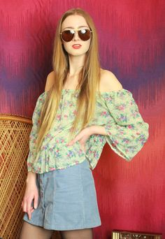Vintage 70s Off Shoulder Floral Gypsy Top // pastel green with pink and purple flower detail // elasticated neckline // gypsy folk style // lovely semi-sheer fabric with light floaty feel - perfect for festivals and the beach! // CONDITION: Excellent. As with all vintage garments they are one of a kind - please expect some signs of natural age/wear // SIZE: Medium - please click on the above SIZING AND CARE tab and use the measurements provided to determine the fit for you // We also accept…