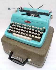 Love mine. Vintage Royal typewriter from the fifties in turquoise, almost Tiffany blue.