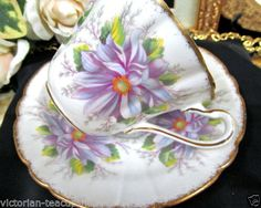 ROYAL STAFFORD TEA CUP AND SAUCER PURPLE DEHLIA PATTERN TEACUP <br/>Cups & Saucers - 63525