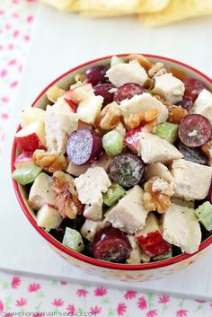 Homemade Waldorf Chicken Salad is a pretty great deli salad recipe. It tastes like like the kind my mom used to make on a weekly basis.