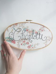 Personalized Vintage Floral Name Sign Embroidery Hoop Nursery Wall Art Housewarming Gift - Embroidery hoop nursery, Alphabet nursery, Embroidery hoop art nursery, Alphabet nursery - Embroidery Hoop Nursery, Embroidery Hoop Art, Vintage Embroidery, Embroidery Ideas, Flower Embroidery, Alphabet Nursery, Nursery Wall Art, Girl Nursery, Vintage Nursery Girl
