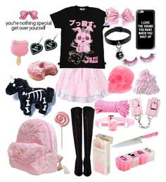 """""""Crazy Yet Loli"""" by drhumanguy ❤ liked on Polyvore featuring Hello Kitty, Hen & Rooster, Witch Worldwide, Casetify, Killstar, MAKE UP FOR EVER, cute, Punk, pastel and kawaii"""